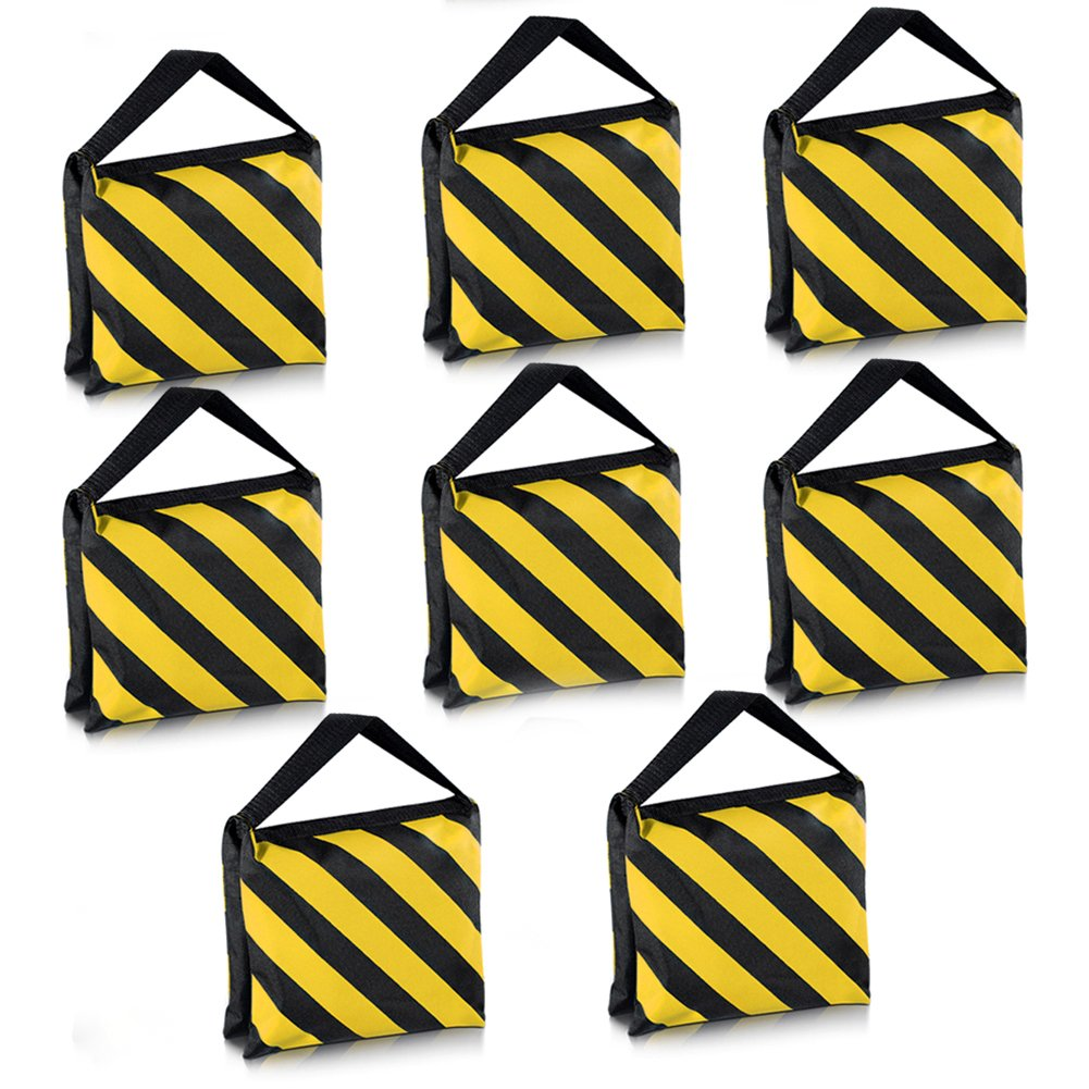 Neewer 8 Pack Dual Handle Sandbag, Black/Yellow Saddlebag for Photography Studio Video Stage Film Light Stands Boom Arms Tripods by Neewer