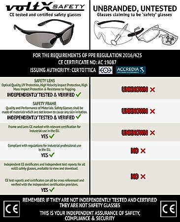 voltX CONSTRUCTOR Occhiali di sicurezza da lettura BIFOCALI con certificazione CE EN166F//Occhiali da ciclismo cordino di sicurezza incluso astuccio rigido a forma di conchiglia +1,0 diottrie SPECCHIO