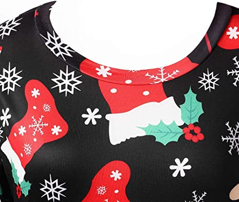 WUSIKY sukienka bożonarodzeniowa dla pań prezent dla pań swobodne Boże Narodzenie Plus Size Full Print długa sukienka: Odzież