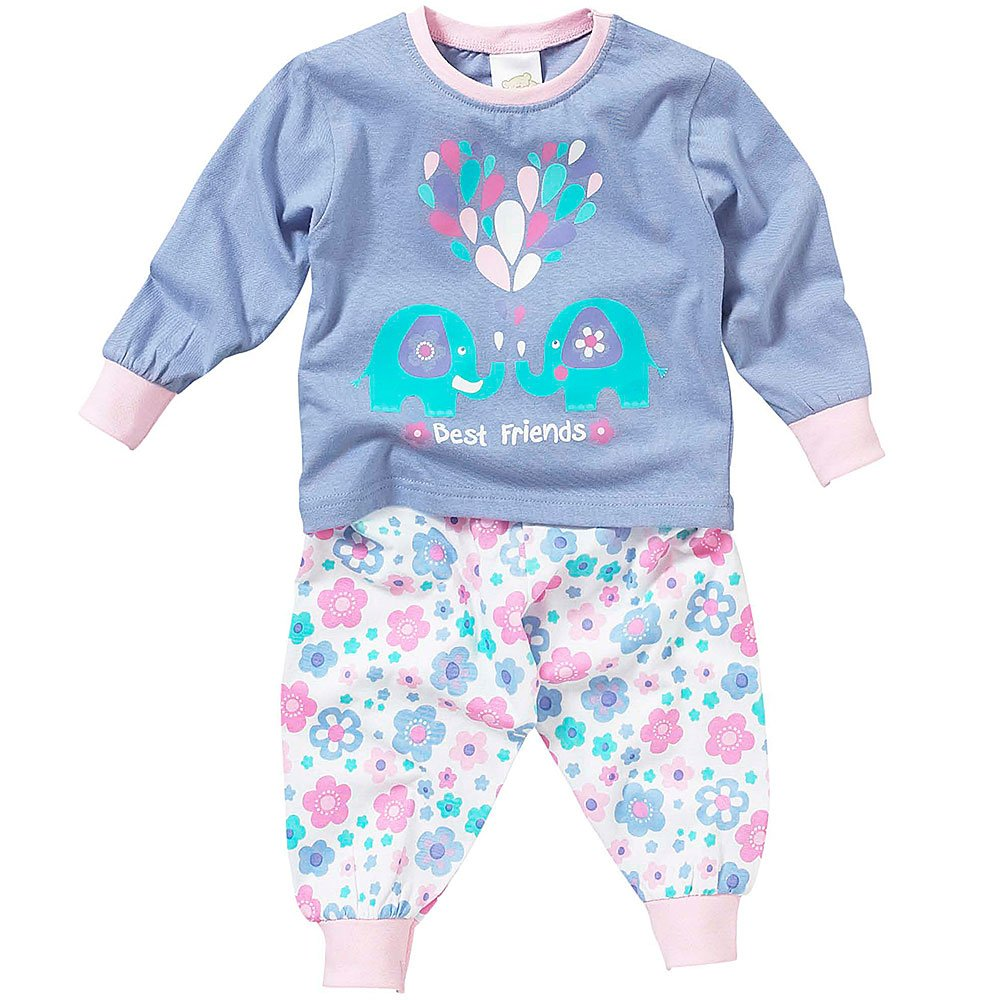 Lullaby Toddler Girls Cute Elephant Heart Best Friends Long Sleeve Pyjamas