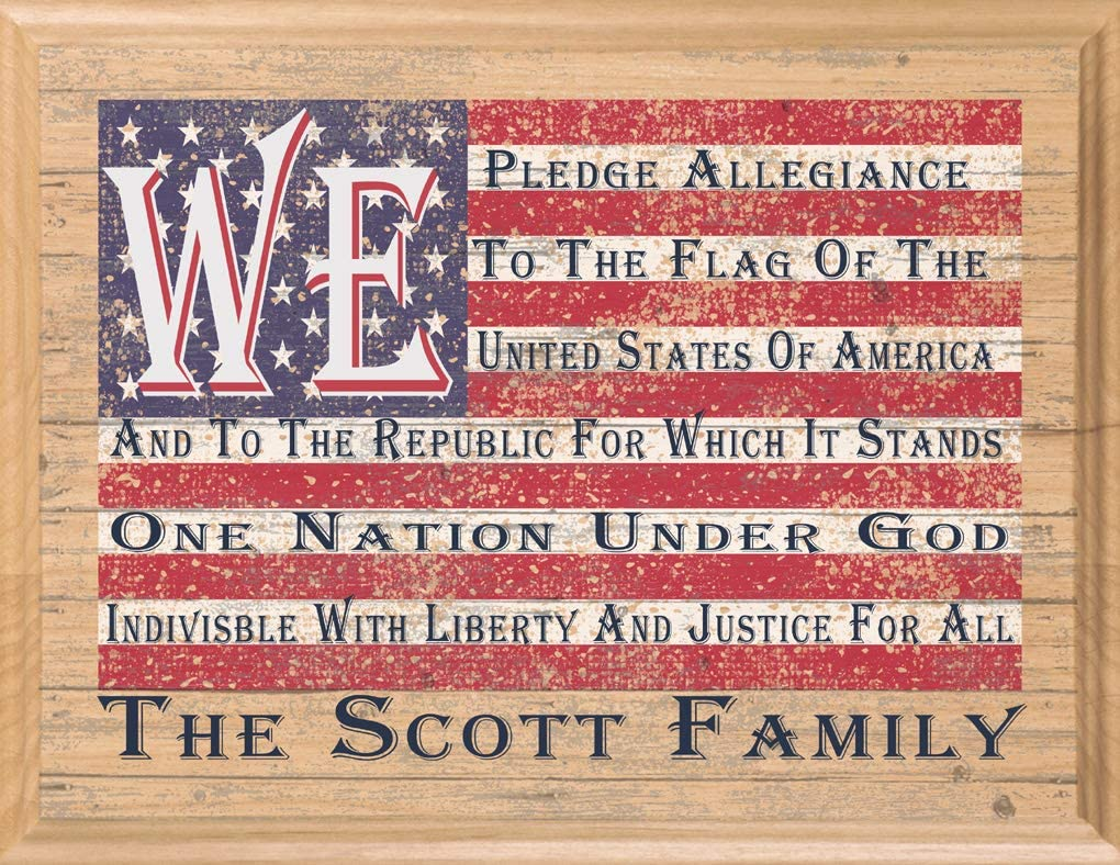 American Flag Sign Personalized We Pledge Allegiance Custom Family Name USA Patriotic Rustic Wood Wall Art