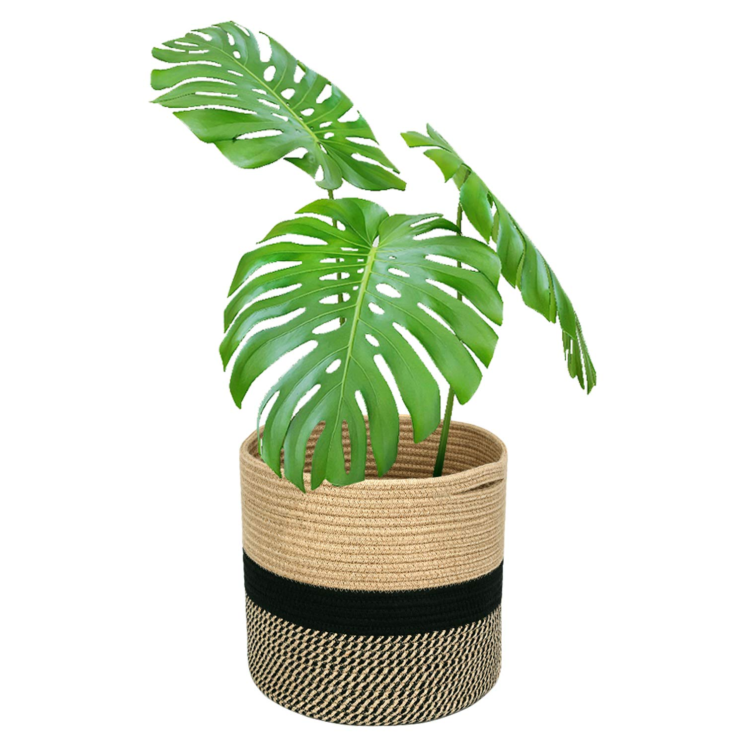 Magicfly Jute Rope Plant Basket, 12 X 12 Inch Cotton Rope Woven Basket for 11 Inch Flower Pot, Floor Indoor Planters, Modern Storage Organizer with Handles for Home D cor, Black and Beige