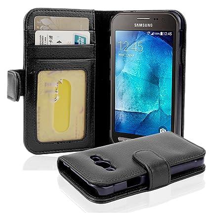 Cadorabo Hülle für Samsung Galaxy Xcover 3 - Hülle in Oxid SCHWARZ – Handyhülle mit 3 Kartenfächern - Case Cover Schutzhülle