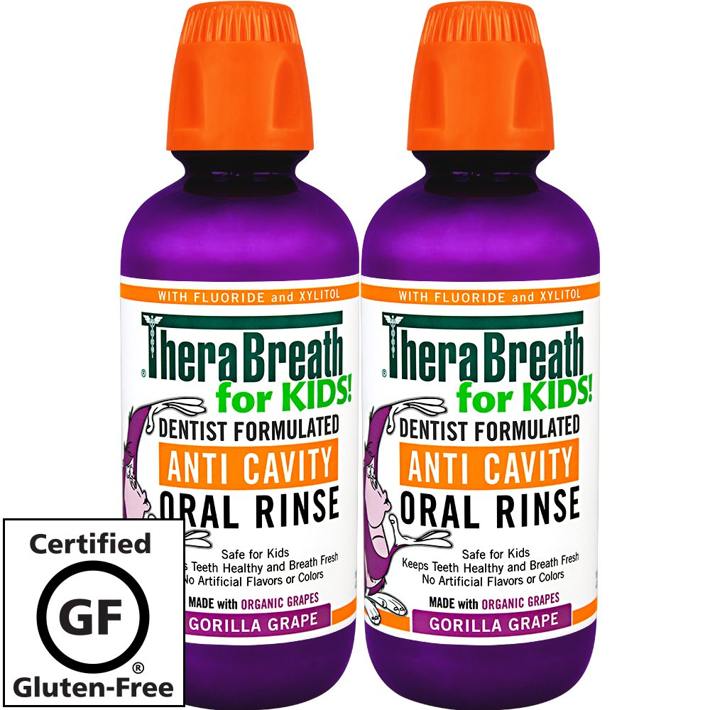 TheraBreath – Kids Oral Rinse – Anti-Cavity Formula – Fluoride + Xylitol Oral Rinse – Great-Tasting Organic Gorilla Grape Flavor – Safe for Kids – 16 Ounces – Two-Pack