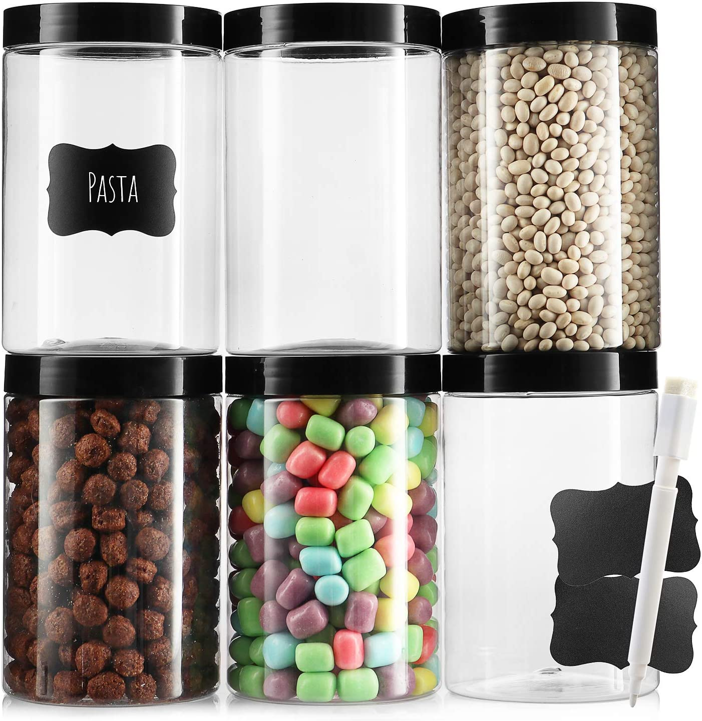 Pack of 6 - Clear Empty Plastic Storage containers with Lids - Round Plastic Containers - Plastic Jars with Lids and Labels – BPA Free Plastic Jar - Food Grade Air Tight – Pantry Canisters