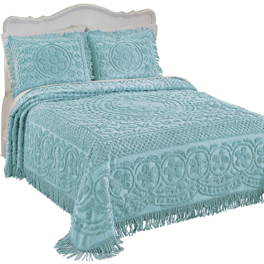 Collections Etc Calista Chenille Lightweight Bedspread with Fringe Border, Turquoise, Queen