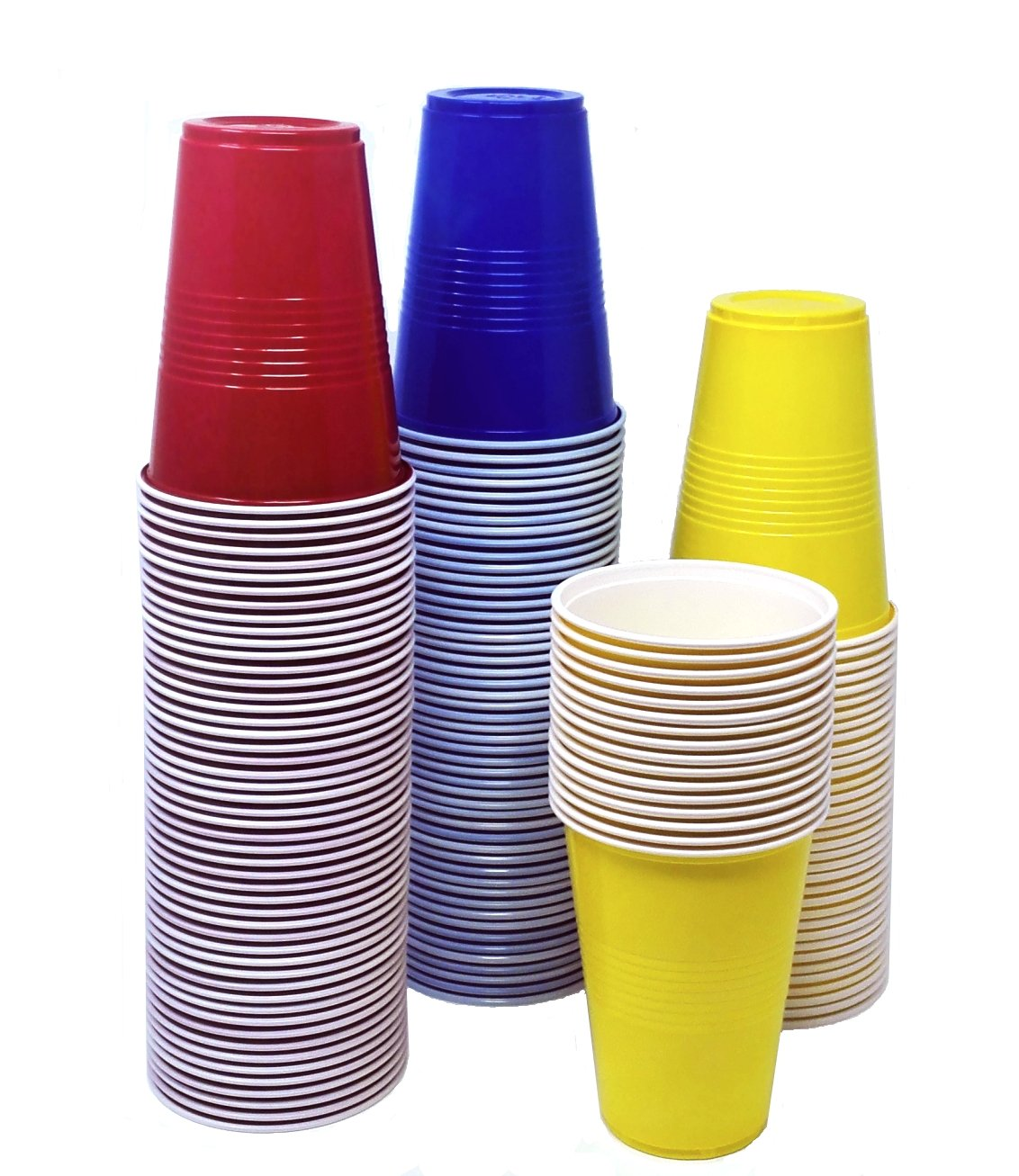TashiBox 16 oz disposable plastic party cups - 150 count - Assorted color: 50 red, 50 blue, 50 yellow cups