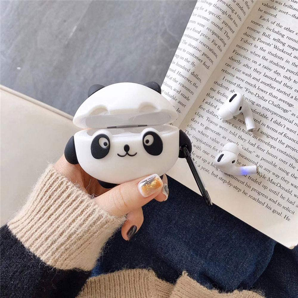 ICI-Rencontrer 3D Vivid Distinctive Panda Cartoon Animals Design Case For Airpods Pro Kids Girls Women Cute Wireless Charging Earphone Soft Silicone Shockproof Protector With Hook