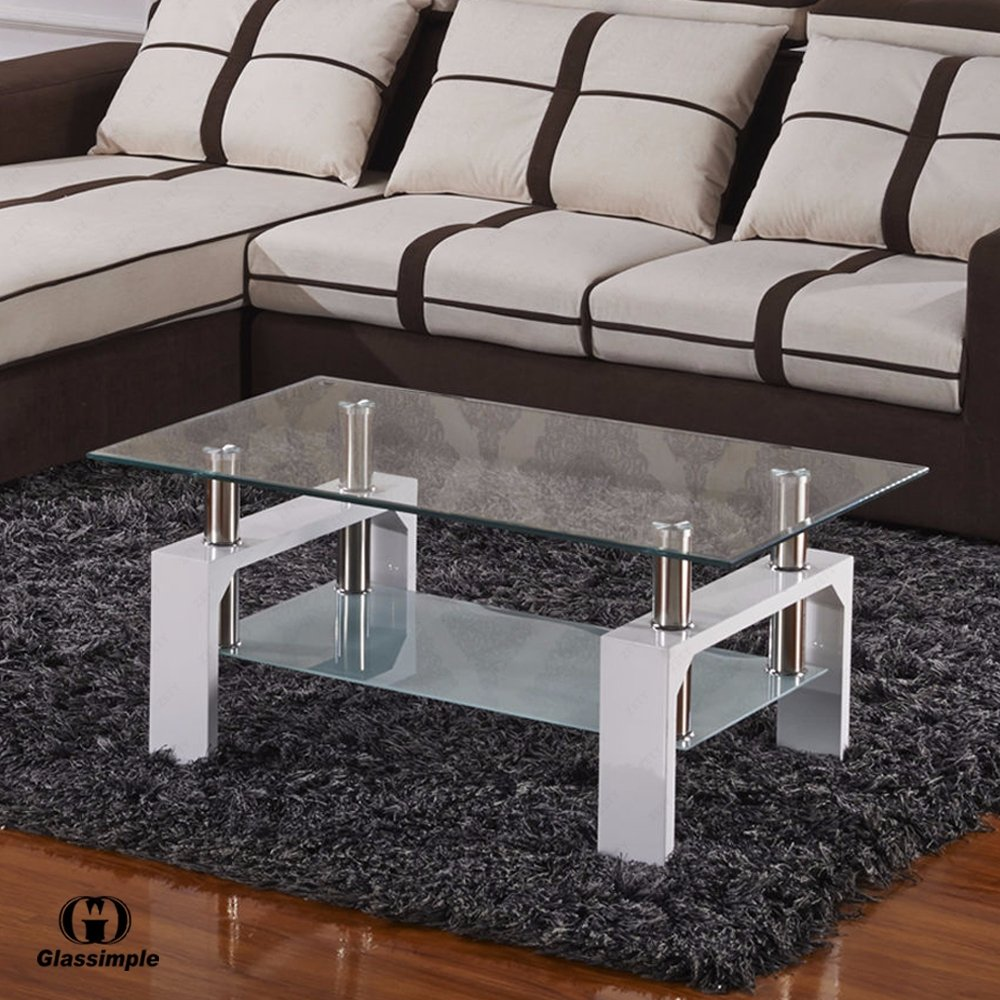 Amazon.com: SUNCOO Coffee Table Clear Glass Top With Shelves For Living Room  (White): Kitchen U0026 Dining
