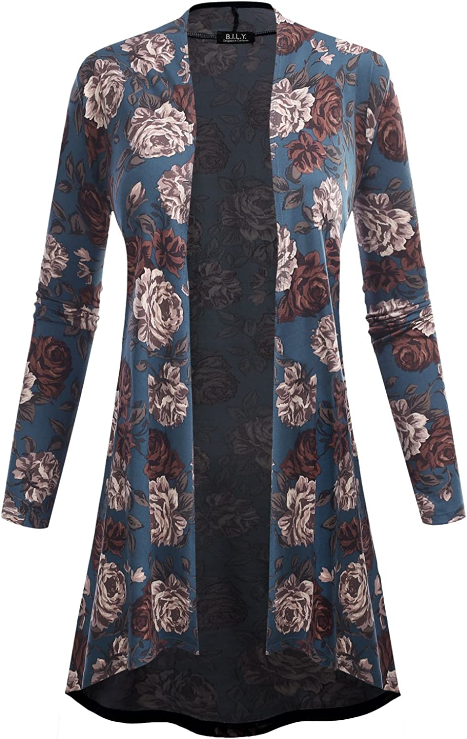 BH B.I.L.Y USA Womens Open Front High-Low Long Sleeve Floral Print Cardigan 61039 Teal Medium