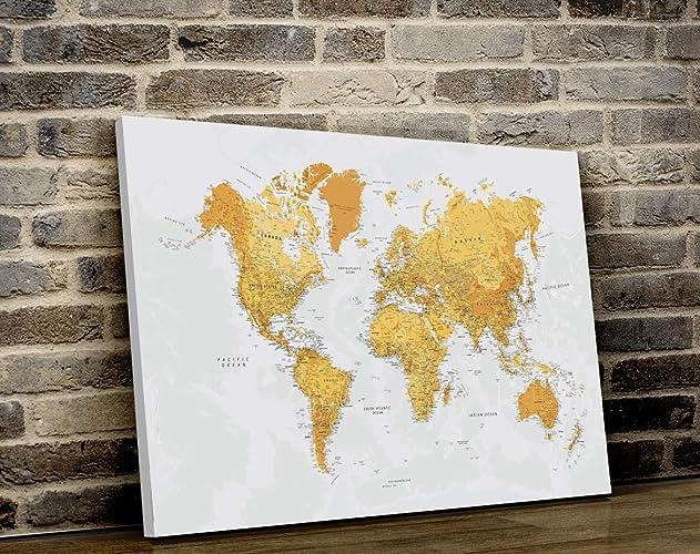 Amazon.com: World Map CANVAS Push Pin, Canvas World Map Wall ...