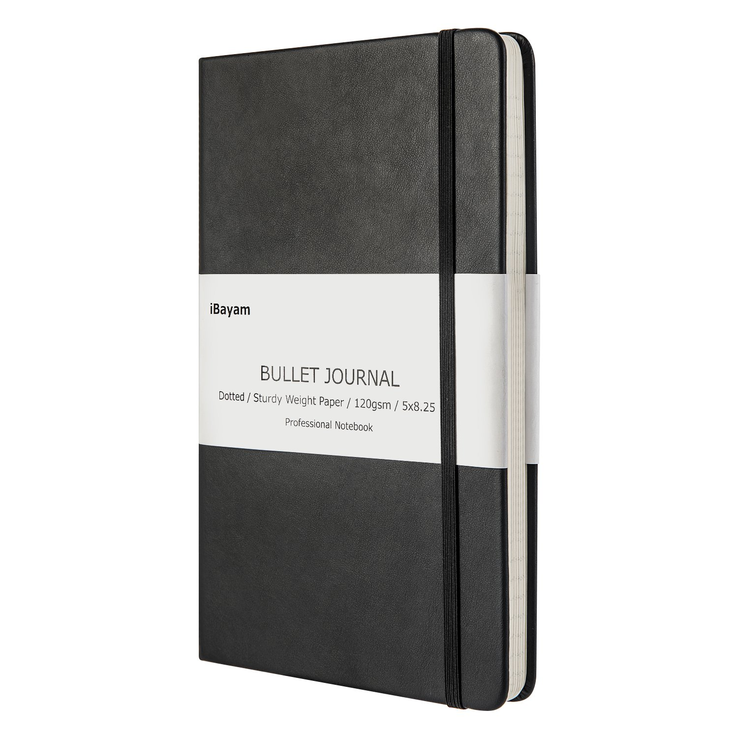 Bullet Journal, Dot Grid Hard Cover Notebook, 120gsm Premium THICK PAPER with Fine Inner Pocket, Classic Black Smooth Faux Leather, A5 size(5''x 8.25'') for School & Office Supplies