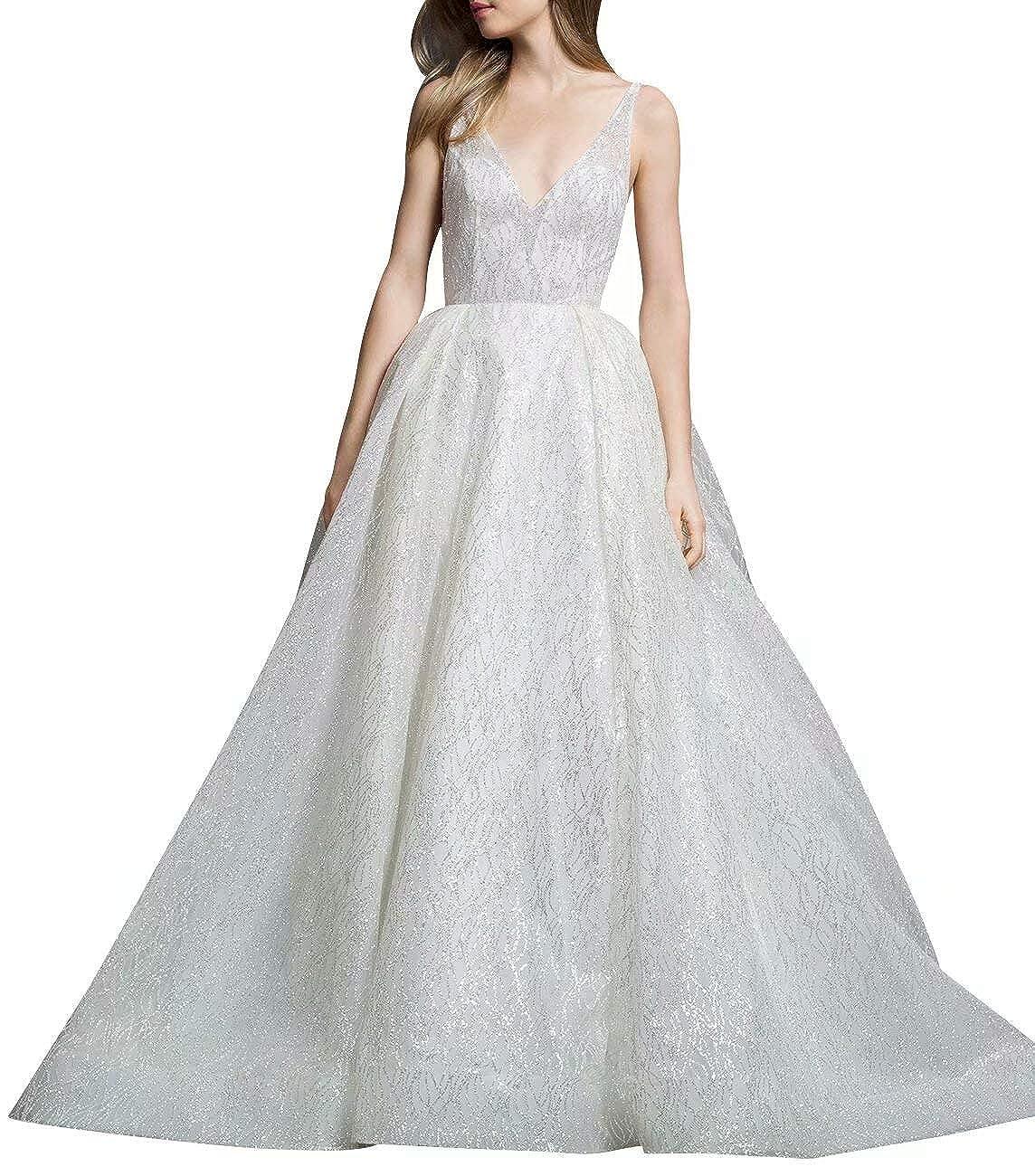 VNeck Sparkling Wedding Dress Backless Sleeveless Tulle Formal Bride Evening Gown, Ivory, 10