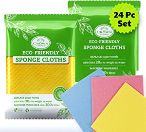 NO Odor Swedish Sponge Cloth (Bulk 24 Pcs) | Natural, Biodegradable, Vegan | Eco-Friendly Reusable Paper Towel Replacement Cleaning Cloths for Kitchen Home (Sponge Cloth 24pk)