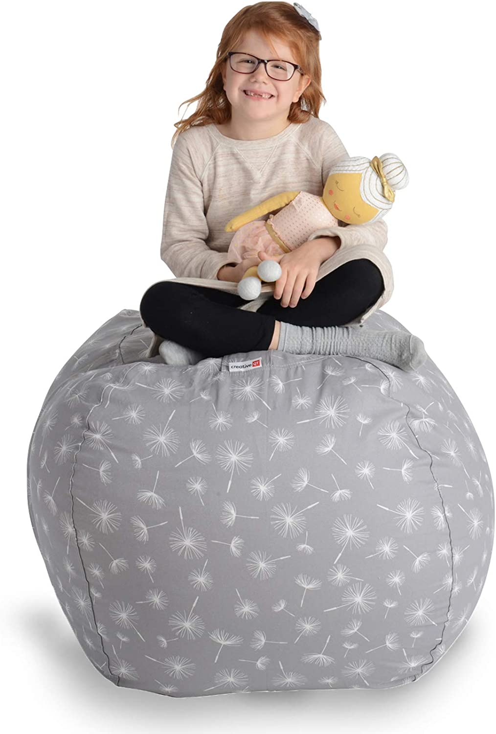 """B07T5XB3P2 Creative QT Stuffed Animal Storage Bean Bag Chair - Extra Large Stuff 'n Sit Organization for Kids Toy Storage - Available in a Variety of Sizes and Colors (38"""", Dandelion) 71CM98c%2BdOL"""