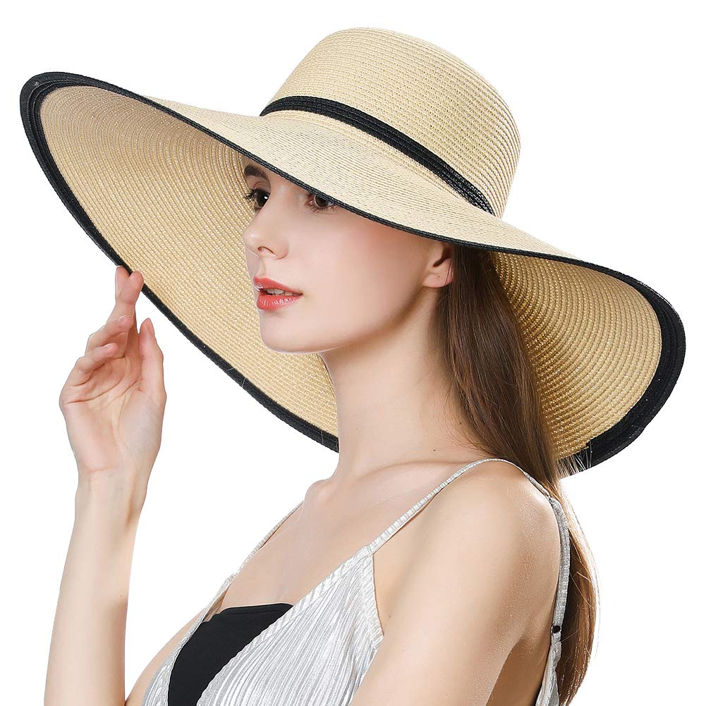Straw Kentucky Derby Sun Floppy Hat Fedora Women Summer Beach Large Head Packable Cloche Beige 58-60cm