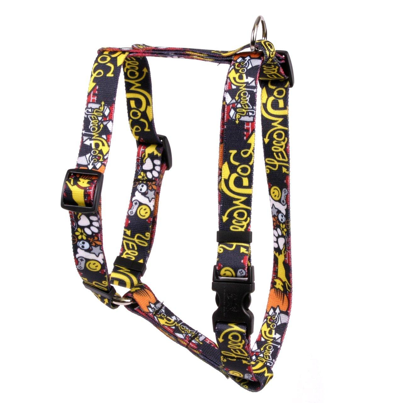 Yellow Dog Design Graffiti Dog Roman Style H Dog Harness, Small/Medium