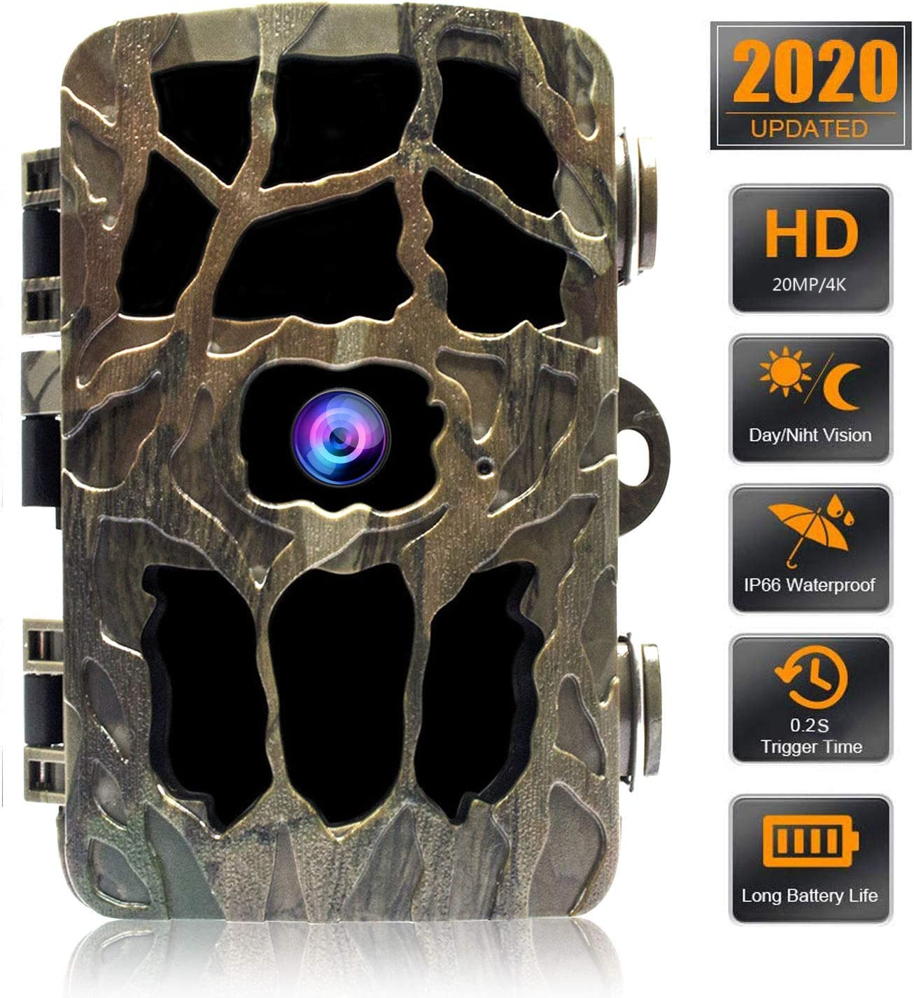 """GoldPaddy Trail Game Camera 4K 20MP, Hunting Camera with Night Vision Motion Activated Waterproof Camera 0.2s Trigger Time Scouting Cam 2.4"""" LCD IR LEDs 120° Wide Angle for Wildlife Home Monitoring"""