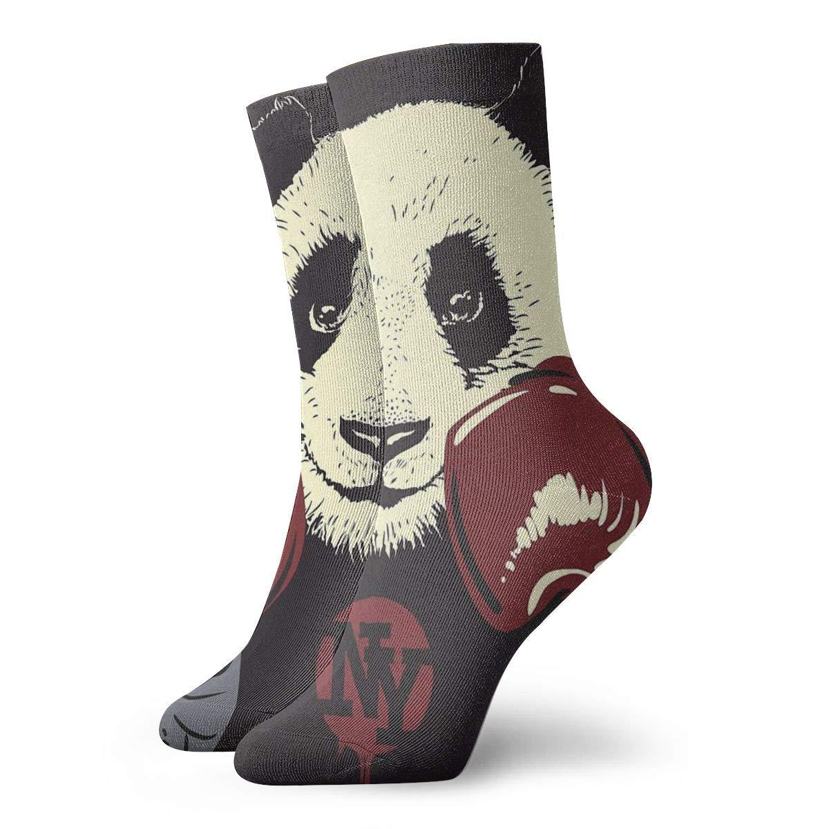 Mens Athletic Cushion Crew Sock Cartoon Cute Panda Long Sock Comfort