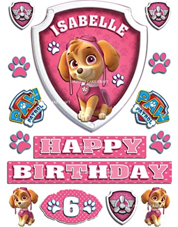 EDIBLE PERSONALISED PAW PATROL BADGE SKYE ICING CAKE TOPPER HAPPY BIRTHDAY Amazoncouk Kitchen Home