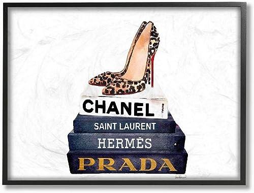 Stupell Industries Glam Fashion Book Set Leopard Pumps Heels Black Framed Wall Art