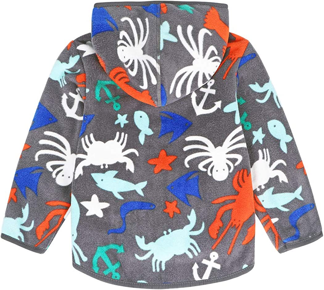 Jurebecia Toddler Baby Boys Girls Polar Fleece Jacket Hooded Sweatshirt Thick Warm Outerwear Autumn Winter Clothes Kids