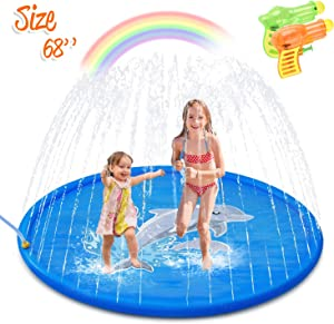 Minto toy [2020 Updated] Splash Pad, Sprinkler for Kids Sprinkler Pad Water Toys Mat for Children Summer Outdoor Fun Toys with Baby Wading Pool for Toddlers, Baby, Boys and Girls