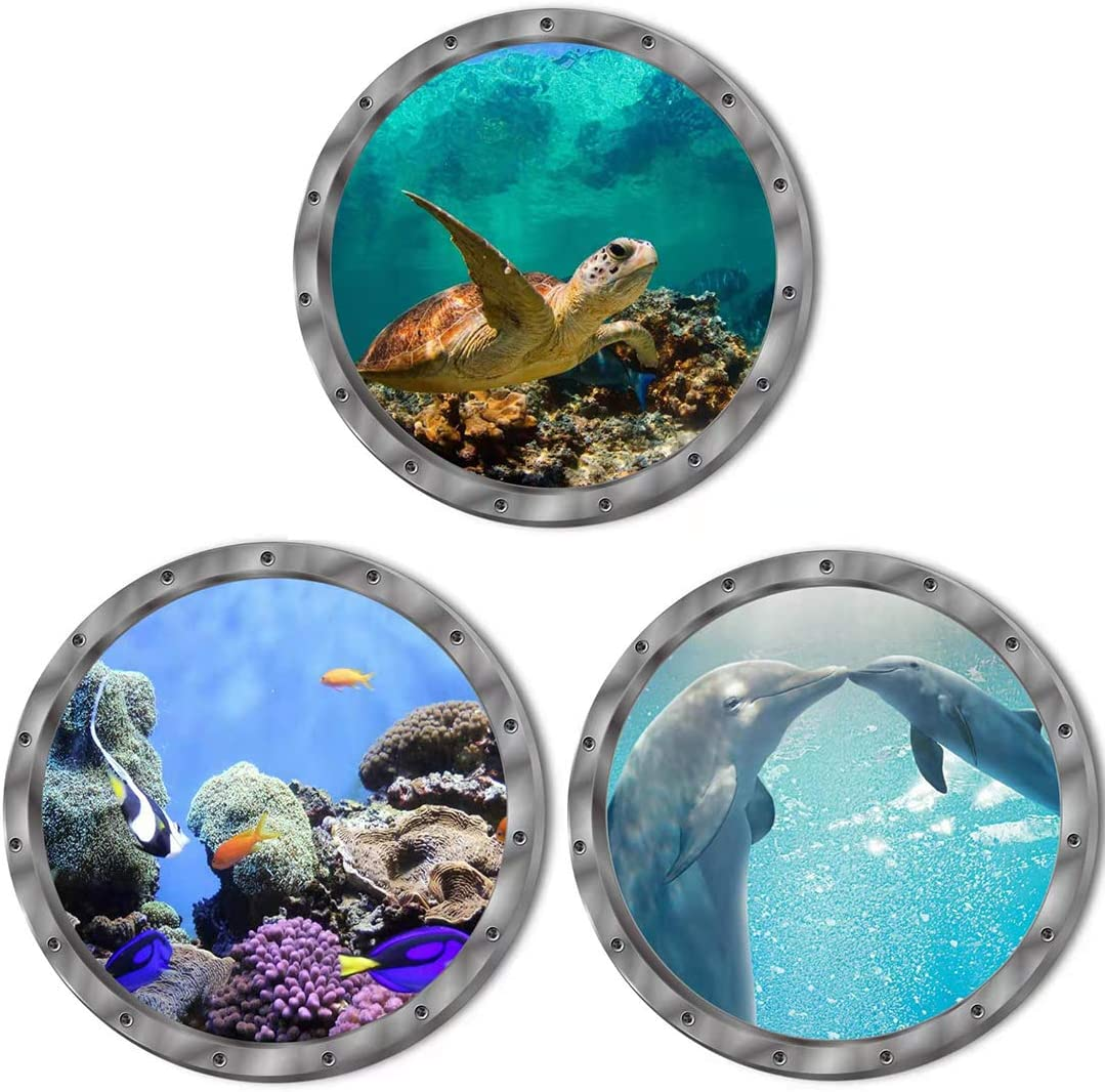 Under The Sea Nature Scenery Ocean Animals World Includ Sea Turtles Dolphins Coral 3 Pcs Removable 3D Wall Decals Peel and Stick Vinyl Stickers for Bathroom and Bedroom, Furniture,Home Decor