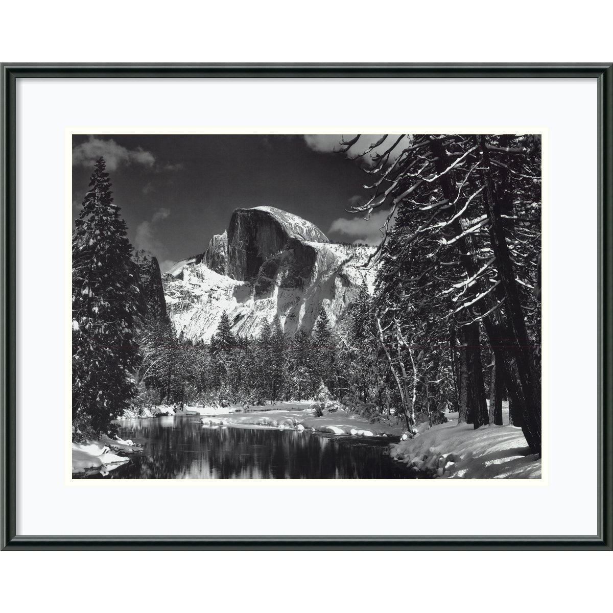 Framed Art Print, 'Half Dome, Winter - Yosemite National Park, 1938' by Ansel Adams: Outer Size 29 x 23'' by Amanti Art