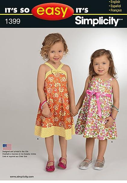 006396003 Simplicity It 's So Easy - Patrones 1399 infantil y vestidos de niña  tamaños 1