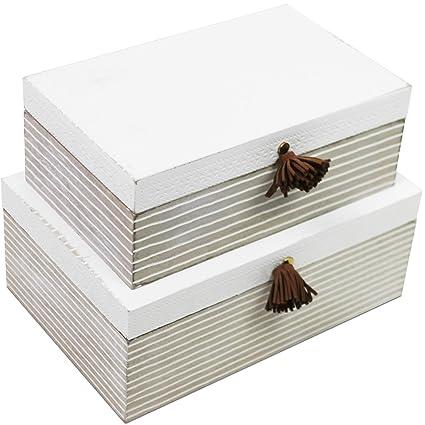 2 unidadesJuego de cajas con tapa en aspecto Shabby, de madera, decorativas, multiusos
