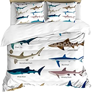 Kids Shark Duvet Cover Twin White Shark Series Girls Boys Bedding Sets with Zipper and Ties,Funny Ocean Theme Comforter Cover Shark Maritime Design Nautical Decorative Quilt Cover with 1 Pillow Sham
