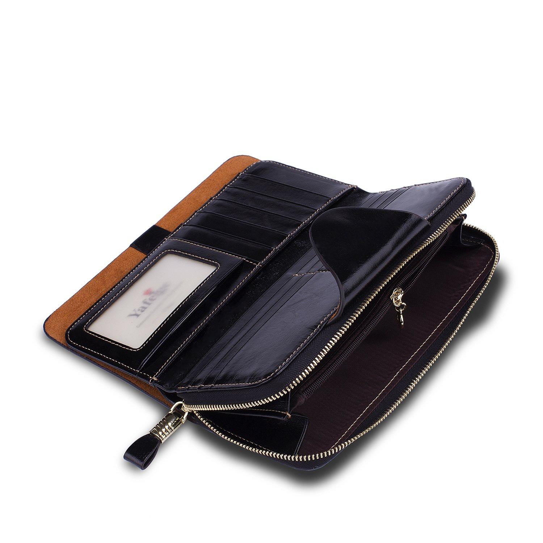 Yafeige Large Luxury Women's RFID Blocking Tri-fold Leather Wallet Zipper Ladies Clutch Purse(1-Waxed Black) by Yafeige (Image #4)