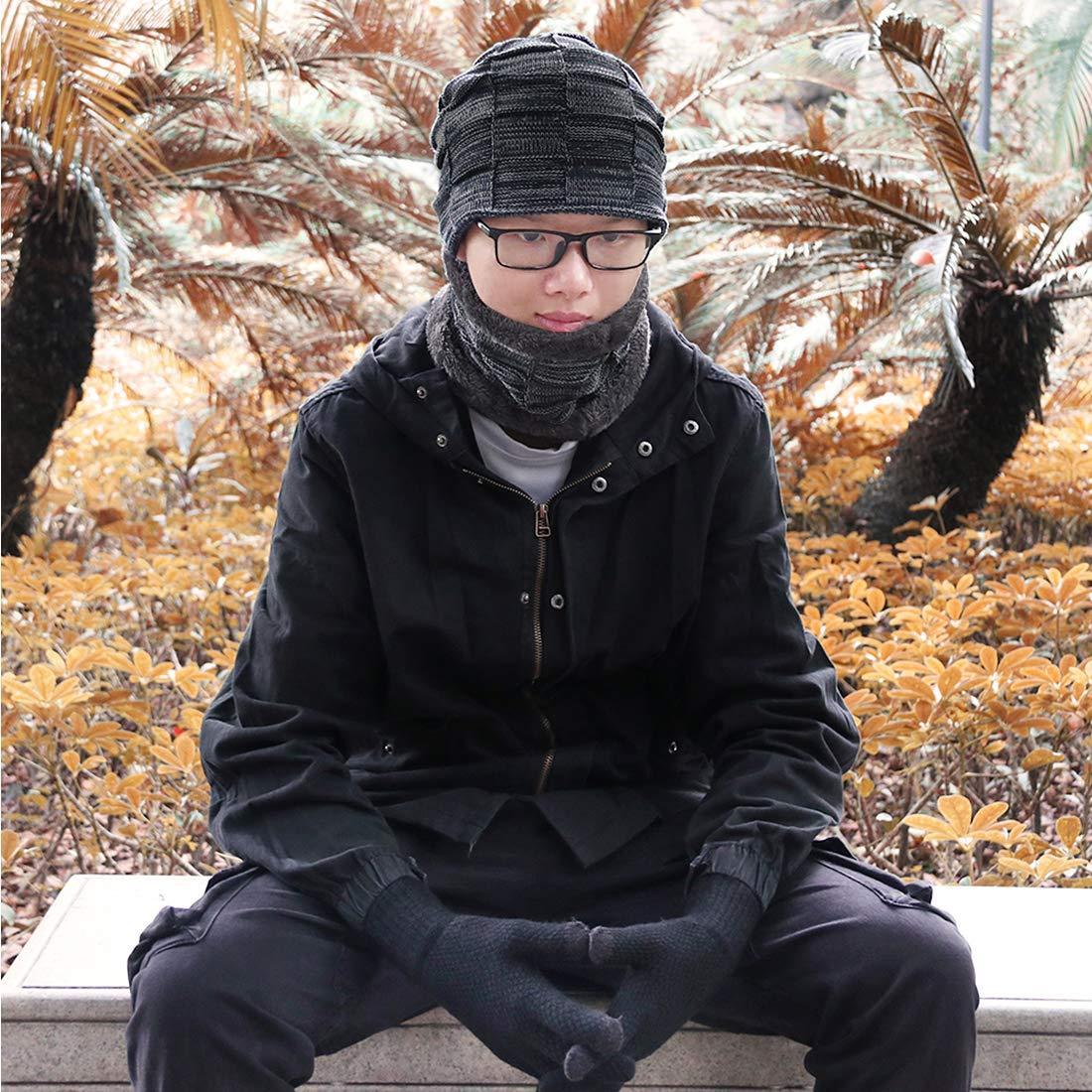 Black KRATARC Winter Warm Scarf Beanie Hat Glove Neck Gaiter Set Adult Men Women Outdoor