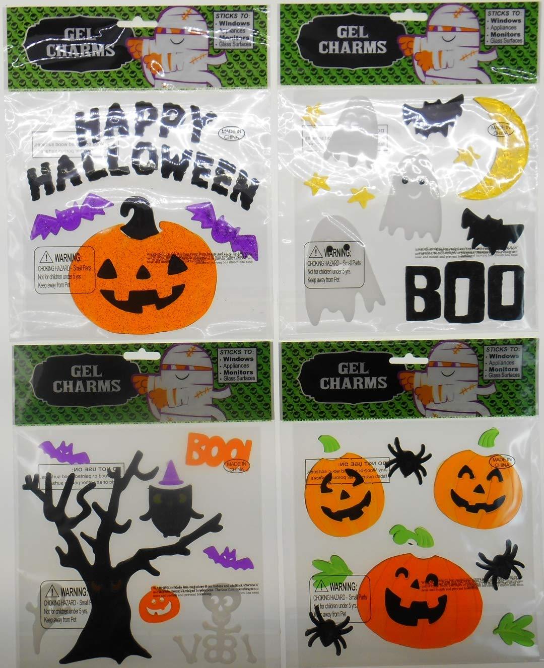 Spooky Halloween Decorations Window Gel Clings - Black Happy Halloween, Jack O Lanterns, Spiders, Bats, Skeleton, Owl, Tree and Ghosts wit Boo - Bundle of 4