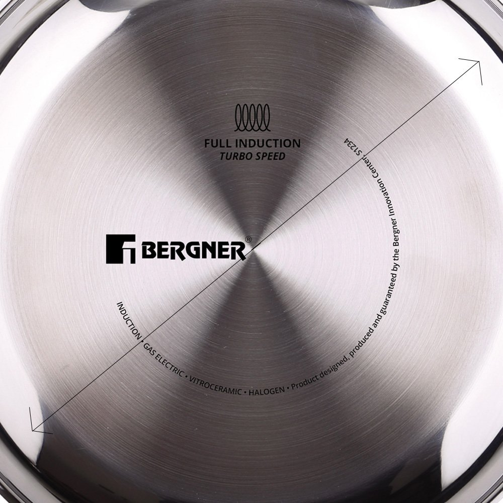 Bergner Tartera, Acero Inoxidable, Cromado, 24 cm