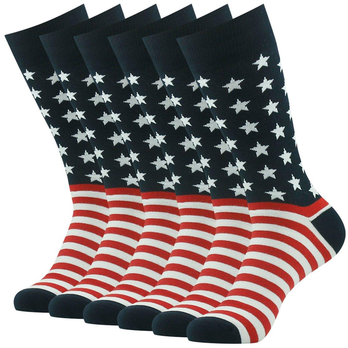 American Flag Socks, SUTTOS Mens Flag Casual Socks 4 of July American US Glory Flag Star Stripe Dress Suits Socks Men's Colorful American Flag Patriot Dress Socks for Groomsmen Back to School Socks,6 Pairs