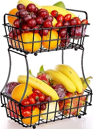 TomCare 2-Tier Fruit Basket Metal Fruit Bowl Bread Baskets Detachable Fruit Holder Kitchen Storage Baskets Stand Black Screws Free Design for Fruits Breads Vegetables Snacks
