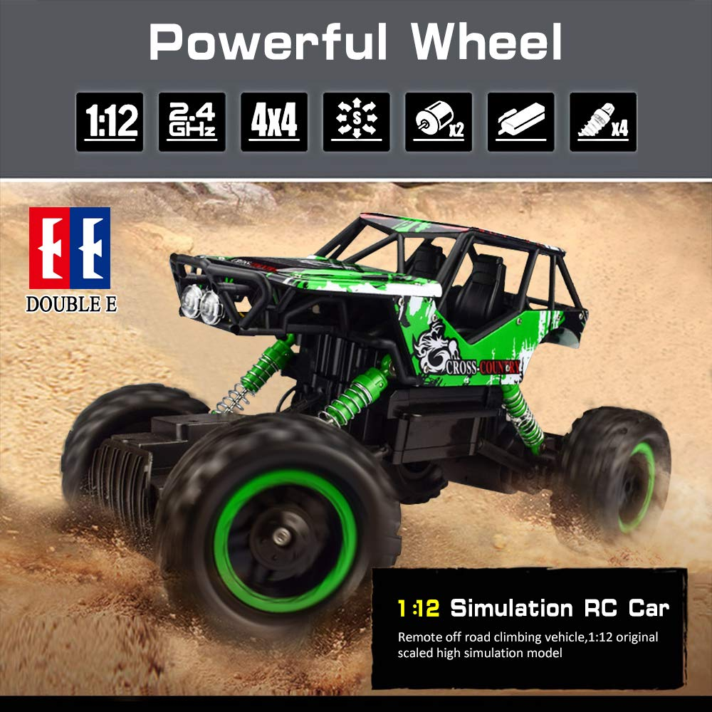 Double E 1/12 RC Rock Crawler Remote Control Truck 4WD Rechargeable Vehicles Off-Road Car by DOUBLE  E (Image #2)