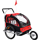 Giantex 2 in 1 Double Child Baby Bike Trailer Bicycle Carrier Jogger Stroller