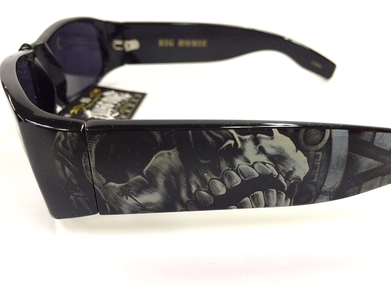 Authentic Dyse One Shades Aztec Skeleton Black Sunglasses California Lowrider Style