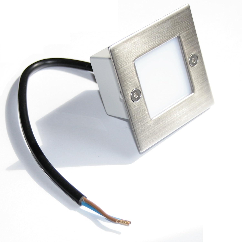 8er Set LED- Treppenbeleuchtung Jason LED Tageslichtweiß 230V, 230V, 230V, Edelstahl gebürstet, IP54 75ecdf