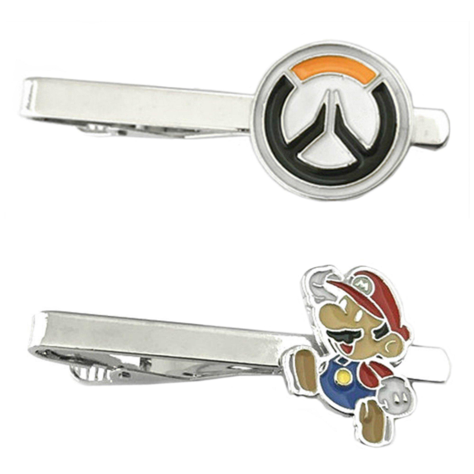 Outlander Video Games - Overwatch & Mario Jumping - Tiebar Tie Clasp Set of 2 Wedding Superhero Logo w/Gift Box