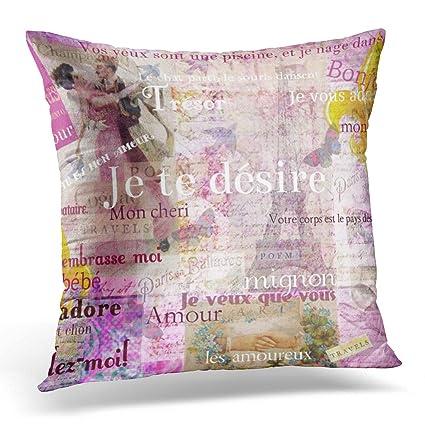 emvency manta funda de almohada romántico francés amor frases Vintage París tema decorativo funda de almohada