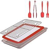 Merya Non-Stick Baking Pan &Silicone Baking Mat& Stainless Steel Cooling Rack &Silicone Basting Set(Oil Brush,Spatula,Spoon,Kitchen Tong) BBQ Grilling, Marinating,Baking .7 pcs/Set Baking Gift