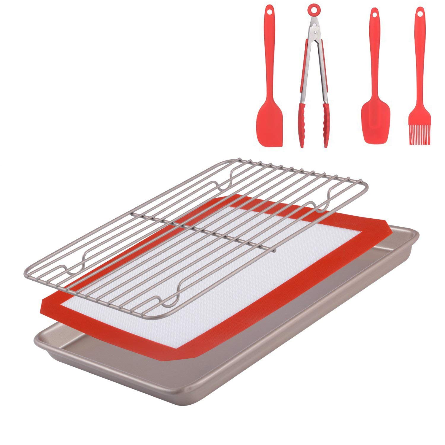 Merya Non-Stick Baking Pan &Silicone Baking Mat& Stainless Steel Cooling Rack &Silicone Basting Set(Oil Brush,Spatula,Spoon,Kitchen Tong) BBQ Grilling, Marinating,Baking .7 pcs/Set Baking Gift