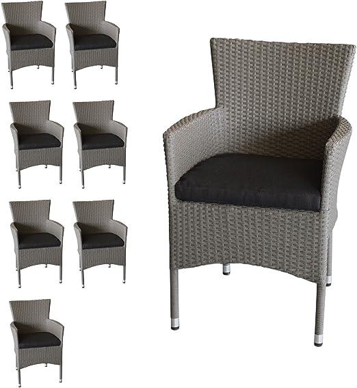Multistore 2002 - Juego de 8 sillas apilables (ratán sintético, con cojines de asiento de color gris), color negro: Amazon.es: Jardín