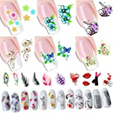 12 Sheets 280 Different Design Self-Adhesive Tip Nail Art Stickers Decals for DIY Manicure Nail Stencils Designs Flowers Heart Feather Butterfly Decoration (LOHSET002A)