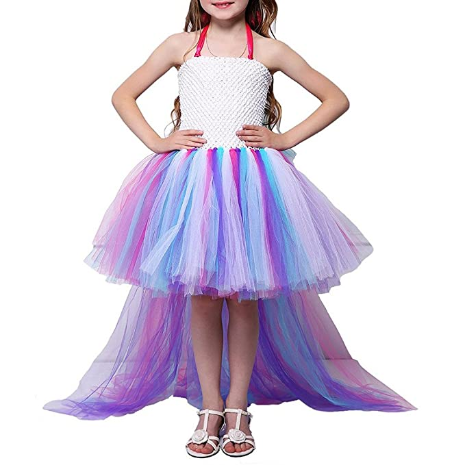 Pettigirl Girls Princess Little Horse Unicorn Rainbow Tutu Dress
