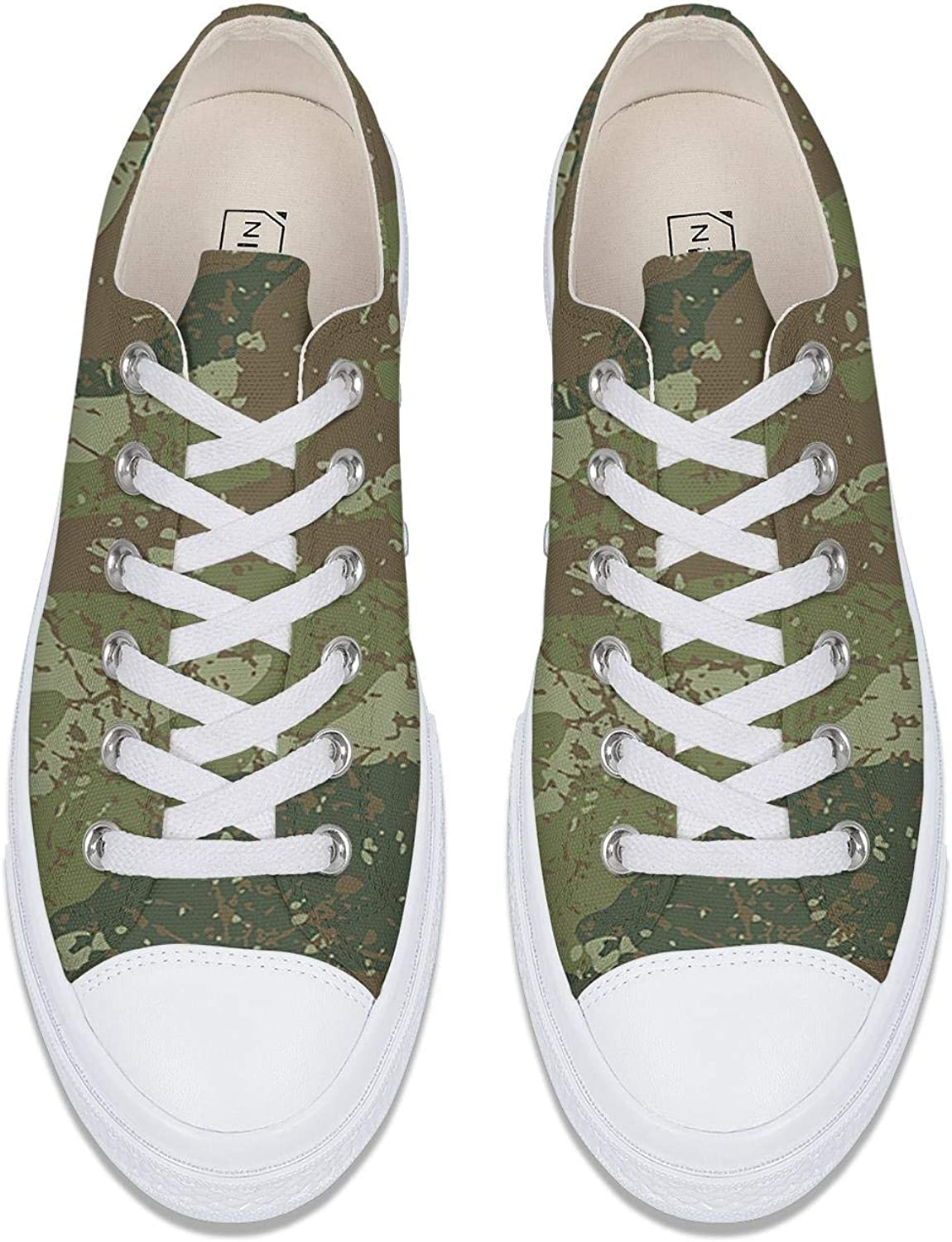 WCAO Military Camo Camouflage Texture Womens Low Top Canvas Shoe Flat Bottom Shoes Funky Clipper Sneakers